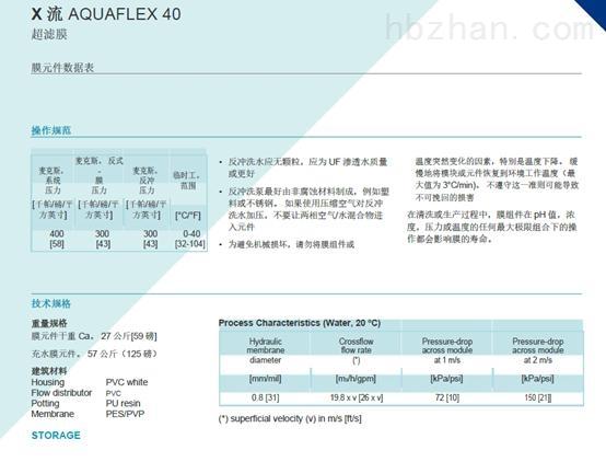 滨特尔Pentair AQUAFLEX 40超滤膜规格