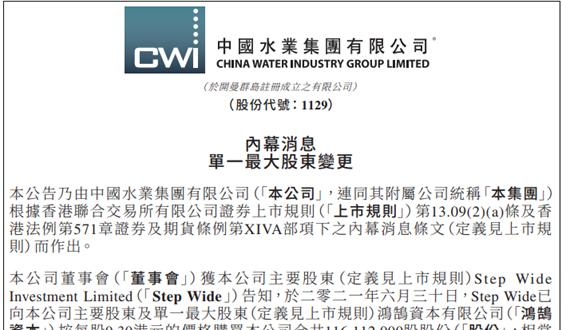 中國水業集團:單一最大股東由鴻鵠資本變更為Step Wide