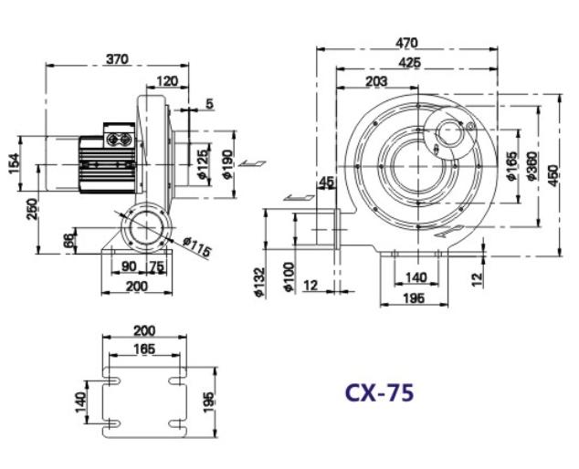 CX-75风机,CX-75H隔热风机,<strong><strong><strong>燃烧器风机</strong></strong></strong>示例图3