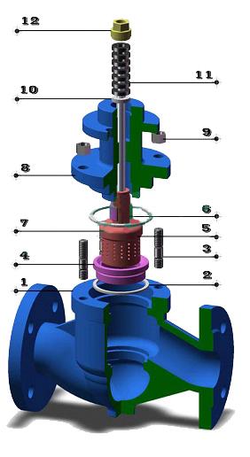 电动单座笼式调节阀 零件图