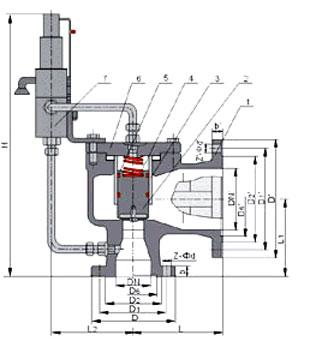 A46先导式安全阀结构图