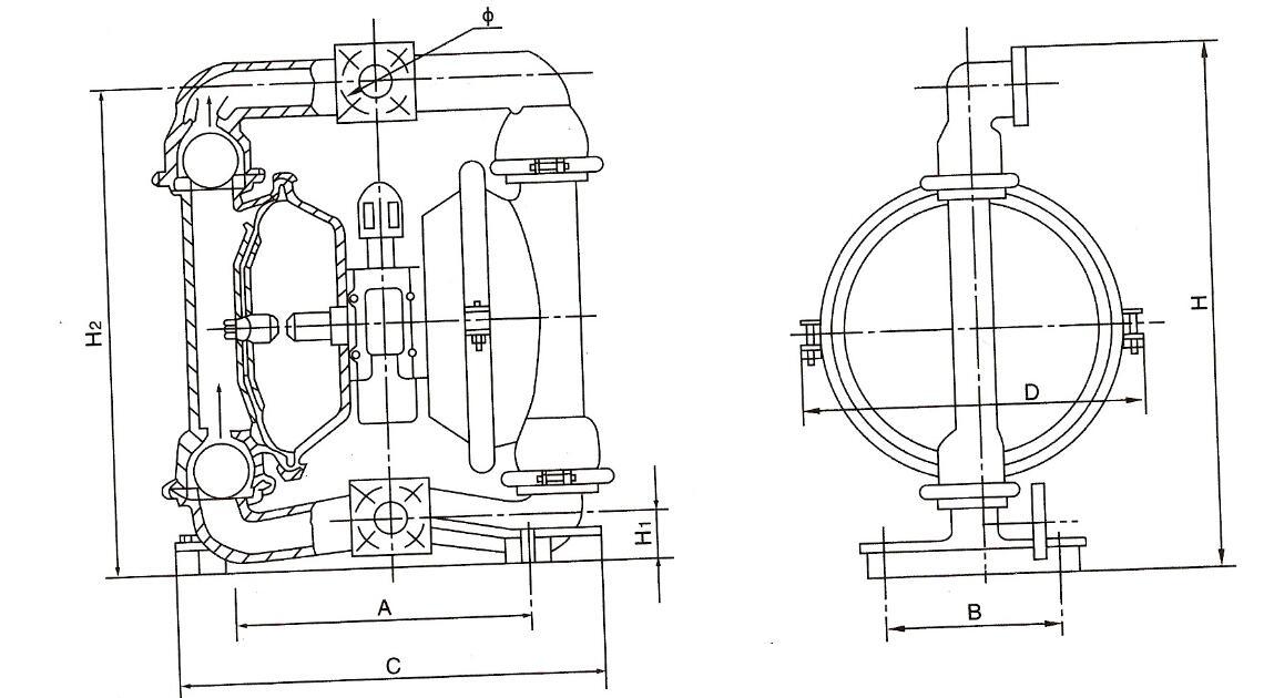 外置配气阀气动隔膜泵尺寸图
